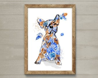 Dog printout, wall art, limited edition dog print. French bulldog art.  Great gift dog lover.  Art print, dog, dogs.