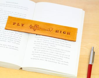 Plane Bookmark Hand Carved Leather Bookmark Plane Gift For Pilot Flying Gift Fly High Bookmark Biplane Aviation Gift For Dad Tiger Moth Gift