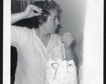 Vintage Snapshot Photo Woman Caught in Bathroom Putting Rollers in Her Hair 1960's, Original Found Photo, Vernacular Photography