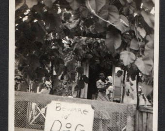 Vintage Snapshot Photo of Beware of Dog Sign People in Background 1930's, Original Found Photo, Vernacular Photography