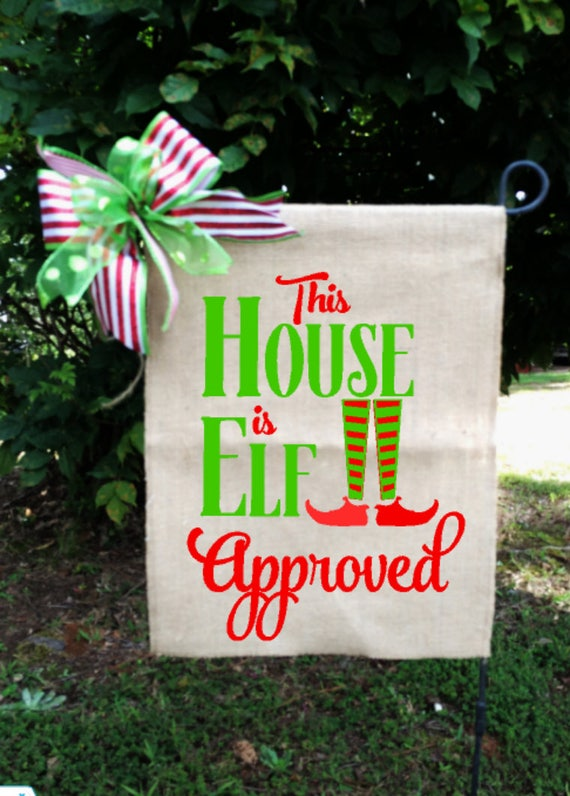 Christmas elf flag christmas garden flags elf approved for Christmas yard signs patterns