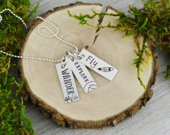 Wander Explore Fly Vertical Bar Travel Necklace - Custom Hand Stamped Inspiration Jewelry - Wanderlust Mantra Jewelry