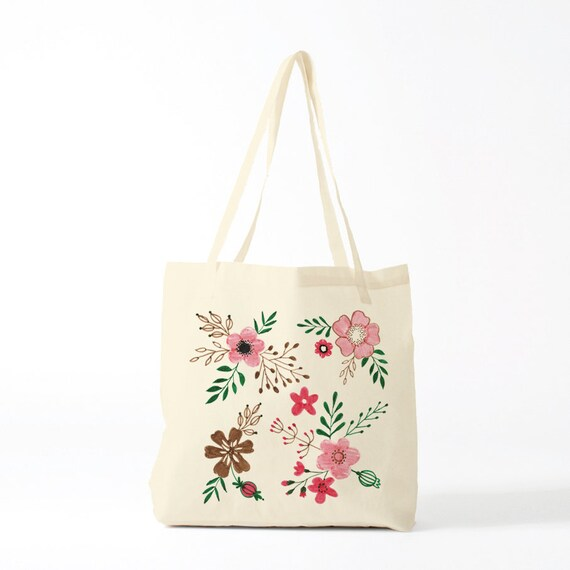 Boho Flowers Tote bag. Cotton bag, sports bag, yoga bag, baby bag, groceries bag, school bag, gift coworker, boho pink flowers.