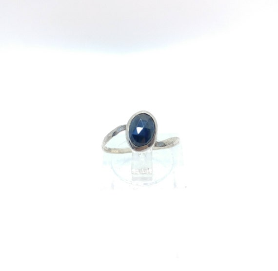 Rose Cut Blue Sapphire Ring | Sterling Silver Ring Sz 6 | Rose Cut Sapphire Ring | Simple Blue Ring | Blue Sapphire Ring | Gift for Mom