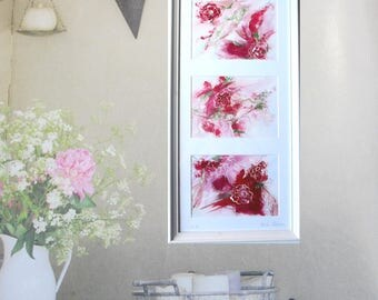Abstract art, floral abstract art, original painting of flowers,  white frame 25.5 x 52 cm= 20,1 x 10,2 in