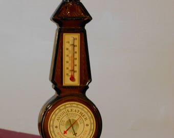 Vintage Avon Leather Brown Glass Thermometer Aftershave Bottle