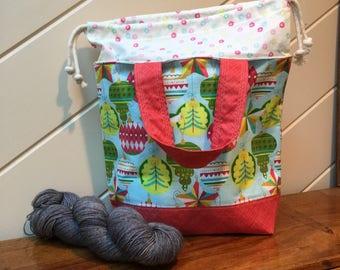 "SALE** Christmas Medium Drawstring Project Bag for Knitting or Crochet, Yarn Tote, Shawl-Sized Bag, Craft Storage ""Ornamental Christmas Sw"