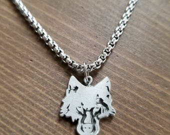 Little D Designs Lone Wolf Head Predator Pendant Necklace Stainless Steel Chain Men's Jewelry USA Free Shipping