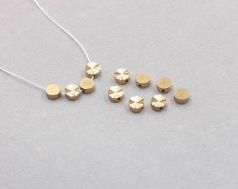 30Pcs, 6mm Raw Brass Round Beads , Hole Size 1mm , SJP-A040