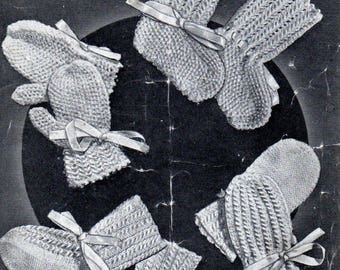1940s Babies Bootees & Mittens, PDF Vintage Knitting Pattern Number 1844