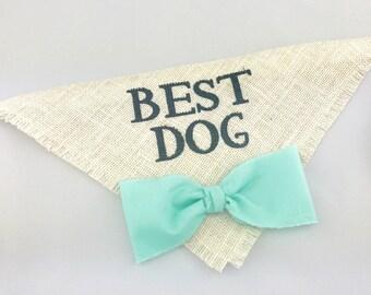 Best Dog Bandana Seafoam Bow Tie Wedding Collar Boy Bowtie Engagement Save the Date Photo Prop