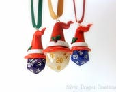 Multiple colors available - D20 Christmas / Holiday Dice Ornament w/ Clay Wizard Hat and Marble Die, RPG, D&D, Tabletop Gaming, Gamer Gift