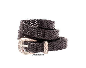 Vintage Belt Black Woven Braided Thin Leather Belt with Western  Silver Buckle Adjustable Large Talbots