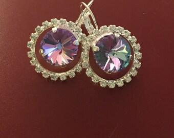 Vitrail Crystal Earrings - Swarovski Crystal Earrings - Crystal Statement Earrings - Halo Earrings -  Purple Crystal Earrings (Item # 7342)