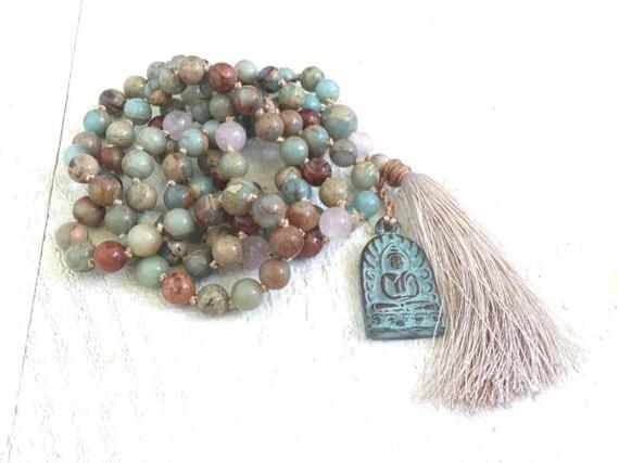 African Opal Knotted Mala Beads, Tassel Mala Necklace, Buddha Pendant Mala Necklace, Long Tassel Necklace, Yoga Meditation Beads