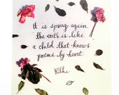 "Illustrated Postcard - ""It is spring again, the earth is like a child that knows poems by heart.""  Rilke"