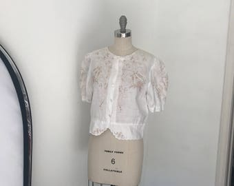 Vintage 70's Crisp White Linen Embroidered Blouse l M