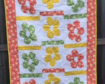 """Denyse Schmidt fabric, Quilt, Lap Quilt, Handmade quilt, Quilt for sale, 39"""" x 54"""" quilt, Original Quilt Design"""