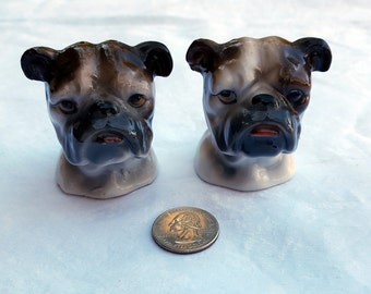 Pair Vintage Japanese Ceramic Bulldog Salt Pepper Shakers