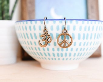 Peace & Om Earrings • Boho jewellery gift for her, meditation, festival, yoga, hippie, antique style, Valentines Present, jewelry
