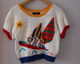 Amazing 80s Sailboat Raquel's Collection Sweater Handmade in Peru