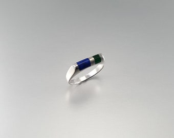 Modern Lapis Lazuli and Malachite set in Sterling silver - gift idea - blue green and silver - natural gemstone - striped - modern design