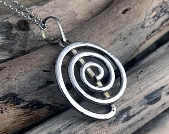 Spiral Pendant Necklace - Swirl Pendant Necklace - Cute Whirlpool Swirl, Gift for her  VAR082