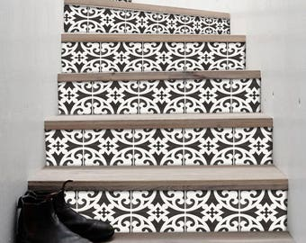 "Stair Riser Stickers - Removable Stair Riser Tile Decals - Citadel Pack of 6 in Black - Peel & Stick Stair Riser Deco Strips - 48"" long"