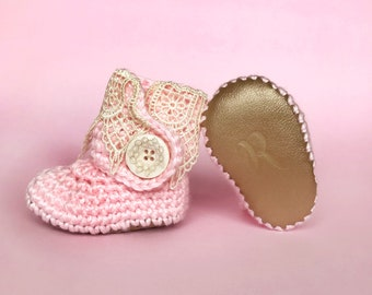 Pink Baby Booties, Girls Coming Home Outfit, Ivory Lace and Gold Leather Boots, Newborn Handmade Knit Clothes, Rose Crochet Infant Shoes