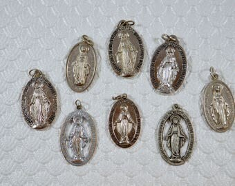 Miraculous Medal LOT of 8 Virgin Mary Miraculous Medals Religious Medal LOT Religious Supply Lot