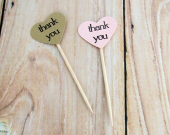Pick Your Colors! Thank You Heart Cupcake Toppers, Rustic Wedding Favors Thank You Topper, Birthday Party Favors, Succulent Party Favors
