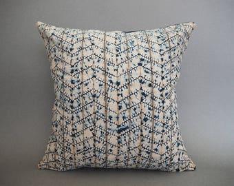 Tie Dye Shibori Pillow, Naturally Dyed Pillow, Boho Pillow, Indigo Shibori Pillow