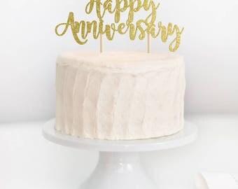 Happy Anniversary Cake Topper, Anniversary Topper, Wedding Anniversary Topper, 20th Anniversary, 30th Anniversary, 40th Anniversary