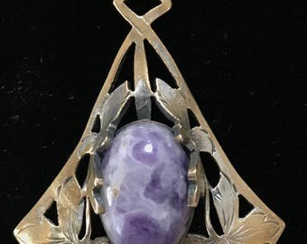 Vintage Purple Agate Watch Chain and Fob Necklace