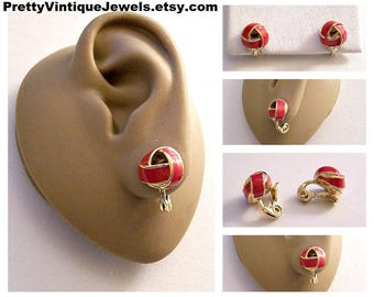 Monet Red Band Knot Clip On Earring Gold Tone Vintage Open Wrapped Weaved Ribs Striped Edge Comfort Paddle