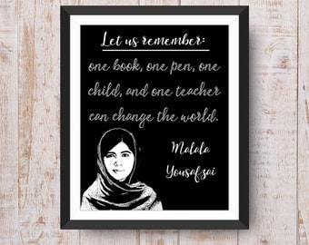 Malala Printable, Teacher Printable, Change the World Printable