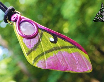 Chinese Moon Moth Wing with Rose Quartz Necklace