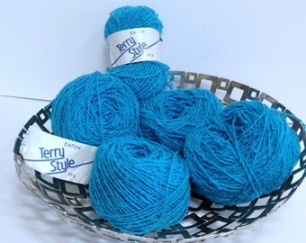 Vintage Eatons Yarn Terry Style Wavey Yarn Destash Bright Turquoise Green Blue Discontinued Vintage Yarn Terry Textured Acrylic Yarn Bundle