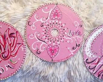 Trio Mandala Douceur - Peinture acrylique sur CD recyclé avec aimant
