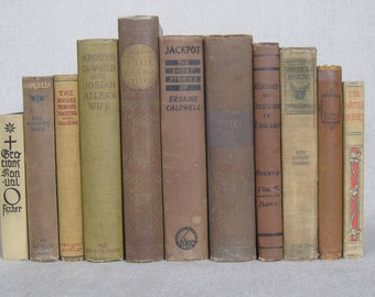 Vintage Shabby Book Bundle in in Shades of Tan, Beige Decorative Books