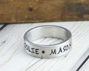 Custom Hand Stamped Name Ring with Kids Names - Pewter Personalized Ring - Date Ring - Couples Ring - Ring for Women - Ring for Men
