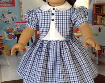40's inspired dress, blue and white check dress, bolero dress, 40's schooldress, cotton retro dress, short sleeve dress, dress with vest
