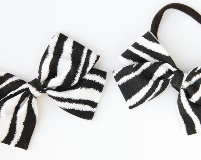 Animal Print Hair Bow - Zebra Hair Bow for girls - Nylon Headbands and Clips for Babies