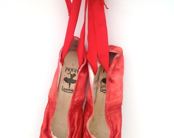 Vintage red ballet shoes by Freed of London