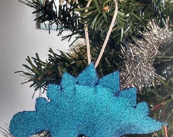 Glitter Christmas Dinosaur bauble decoration ornament