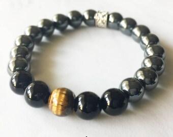 Hematite, Onyx, Tigers Eye, Crystal Bracelet, Gemstone Beaded Bracelet, Chakra Jewelry, Beaded Bracelets, 8mm Bracelet