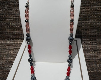 "Beaded Necklace, Snowflake Obsidian, Red and Pink Teardrop crystals, Rosegold tone chain, 26"" Necklace, Gift for Her, Delicate Necklace"