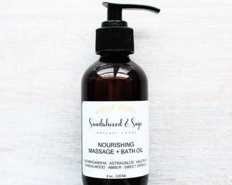 Organic Nourishing Massage + Bath Oil // Adaptogen Infused Bath Oil // Solar Infused Massage Oil // Botanical Massage Oil // Ashwagandha Oil