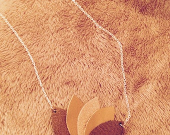 Leather lotus necklace