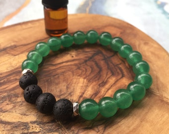 GREEN AVENTURINE essential oil bracelet: abundance, good luck, success, prosperity, tranquility, friendship, healing, personal growth